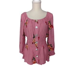 Anthropologie Fig and Flower Embroidered Blouse…